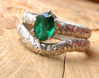 Emerald Engagement Ring and Matching Curved Wedding Band in Silver Unique Emerald Ring Oval Engagement Ring Vintage Style Flower Rings