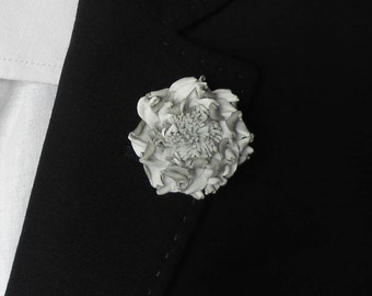 Flower Lapel Pin, White flower brooch, Leather lapel pin, Mens lapel, Flower Pin, Wedding boutonniere, mens accessories, gift ideas for Men