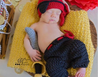 Instant Download Crochet Newborn Pirate Hat, Eye Patch, Pants, and Sword Pattern, Newborn Pirate Outfit, Baby Pirate Costume PDF Pattern