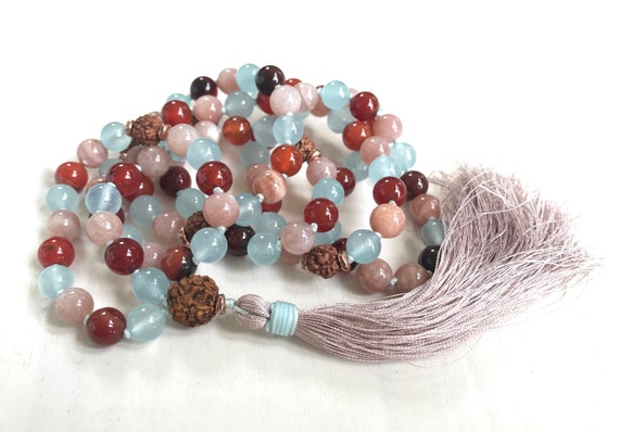 ENJOYMENT OF LIFE - Mala Beads - Sunstone Rudraksha Mala Necklace - Dream Agate and Jade - Hand Knotted Mala - 108 Beads Mala - Yoga Beads