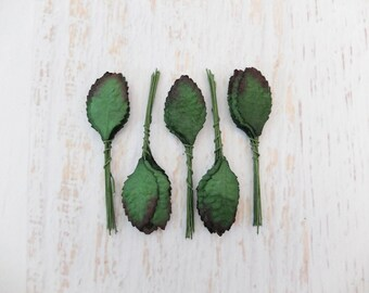 50 mulberry green paper leaves (Size 4)