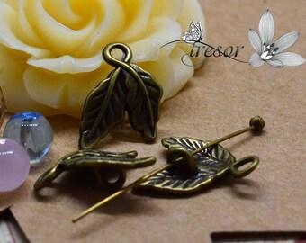 Set of 20 QZW138 bronze pendant, leaves, plant