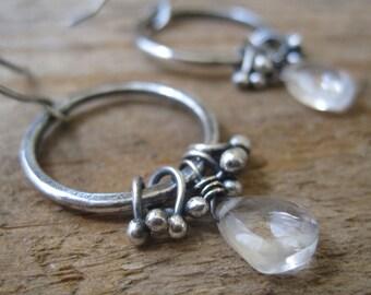 Rock Crystal, Bramble Hoop Dangle Earrings, Fine Silver Link Earrings, Silver Hoop Earrings, Ice Earrings