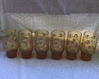 Set of 6 Vintage Amber Glass Juice Tumblers / Glasses With Strawberries