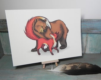 Bear & Fox Couple Illustration - A4 Print on 270gsm Card available in 3 Colours