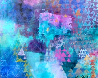 """Geometric Abstract Painting, Teal, Triangles, Colorful, Vibrant, """"Just Before Creation"""" 20x24"""""""