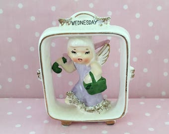 Wednesday Angel ~~ Vintage Lefton Day of the Week Angel ~~ Angel in Frame ~~