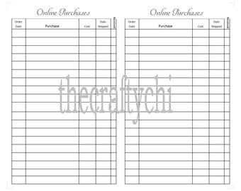 Online Purchases Tracker for TN, Traveler's Notebook, Midori- A6  digital download Printable