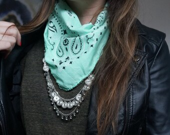 Mint Bandana with Silver chain | turquoise jewelry | Western boho