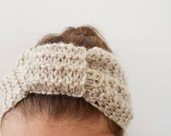 Beige wool hand knit headband