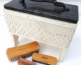 Vintage Shoe Shine Box | Shoe Shine Valet | Wicker Basket with Lid | Wooden Brushes | Wicker Box | Shoe Kit