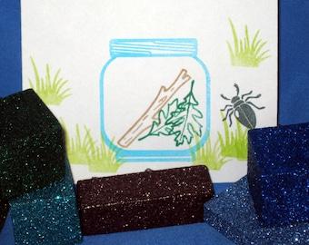 Bug Stamp Set, Insect Stamps, Kids' Craft Kit, Bug Jar Stamp, Terrarium Stamp Set for Kids, Entomology, Bug Scientist Child, Bug Birthday