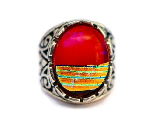Dichroic Glass Ring, Fused Glass Ring, Adjustable Ring, Red, Hot Pink and Gold Ring, Adjustable Silver Ring, Dichroic Glass Jewelry
