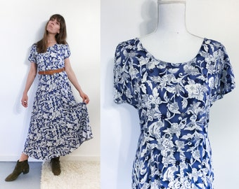 90s Blue Floral Long Dress / Rayon