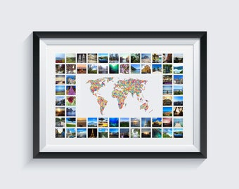 Spotted World Map & Photo Collage