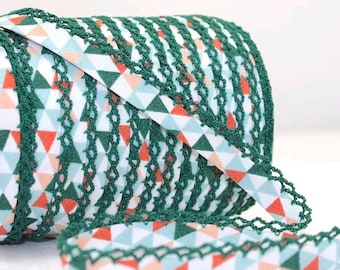 Crochet Bias Tape - Green Geometric - Double Fold Bias Tape - Clothes Binding - Lace Trim - Sewing Binding - Picot Trim - By the Yard
