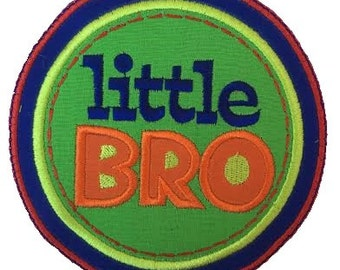 Little Bro Patch, Little Brother Iron On Applique Patch, Brother Patch
