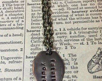 Fatally Yours Hand Stamped Coffin necklace