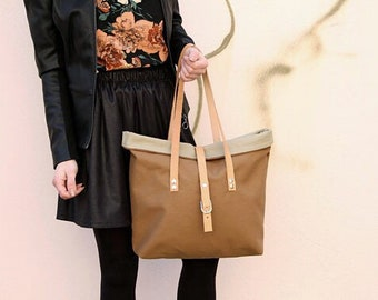 Canvas tote bag brown / large tote bag / work tote bag / simple tote minimalist / canvas shoulder bag / canvas and leather tote