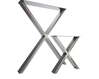 2 x las patas de la mesa - comedor 'X' pedestales en acero Industrial