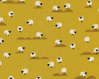 Panorama Sunset Sheep in Mustard, Melody Miller and Sarah Watts, Cotton and Steel, RJR Fabrics, 100% Cotton Fabric, 5169-02