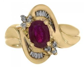 0.20 Carat Diamond & 1.00 Carat Ruby Ring 14K Yellow Gold