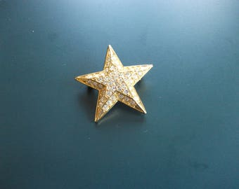 Vintage Joan Rivers Pave Set Rhinestone Star Brooch Pin