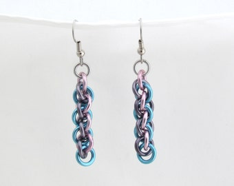Chain Maille Earrings, Pastel Earrings, Jump Ring Jewelry, Multicolor Jewelry, Jens Pind
