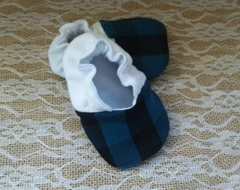 Handmade baby shoes, Soft sole shoes, baby booties, baby slippers--Teal Buffalo Plaid