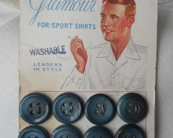 Set of 8 VINTAGE Graphic Mens Shirt Blue Green Plastic BUTTONS