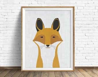 Foxy - art print, large art, mid century modern wall art, art for kids, nursery decor, nursery wall art, woodland nursery, nursery art, fox