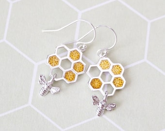 Honey bee on honeycomb earrings, bumble bee charm, bee keeper, cute bee, busy as bees, girlfriend bestie, topaz honey bee, meant to bee