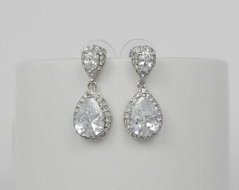 Bridal Teardrop Earrings, Cubic Zirconia, Wedding Jewelry, Allison - Ships in 1-3 Business Days