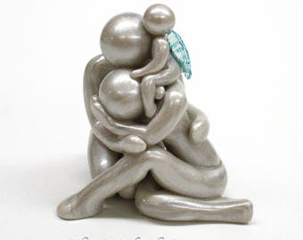 Always - grieving parents with angel baby sculpture - child loss memorial  - miscarriage gift - family with up to 5 siblings - made to order