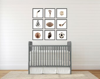 The Sports Collection On White Background, Set of Nine photo prints, Nursery Decor, Vintage Sports Decor, Sports Room, Sports Art