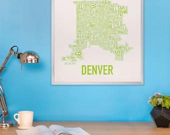 Denver Neighborhood Map Poster or Print, Original Artist of Type City Neighborhood Map Designs, Denver Colorado Map Art