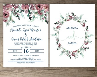 Dusty Rose Navy Floral Wedding Invitations • Greenery Watercolor Invites • printable