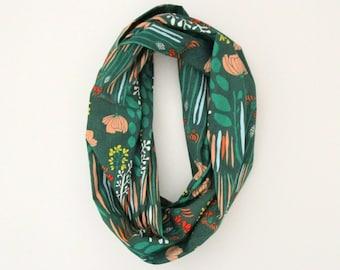 Infinity Scarf - Green Orange Yellow Red Wild Flowers Floral - Cotton Fashion Tube Scarf