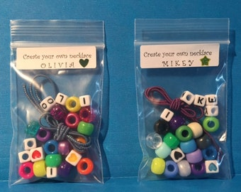 Kids Party Favor - Child Necklace, Bracelet, Make Your Own, Easy to Make, Jewelry Kit, Alphabet, Play Date, DIY, Personalized, Unique