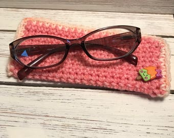 Crochet Pink Eye Glass Case