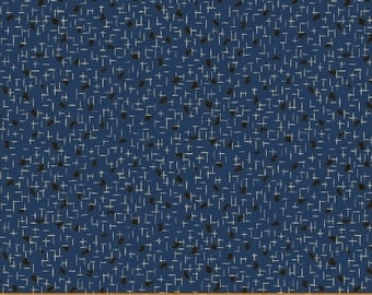 Windham Storytellers Nancy Gere Blue with Black Accents Civil War Reproduction  40803-5 Fabric BTY