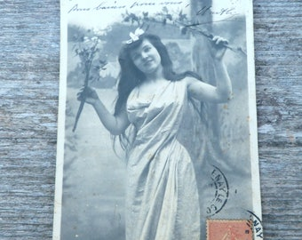 Antique 1910 postcard  French real photo recolored girl wearing Antique wrapped dress