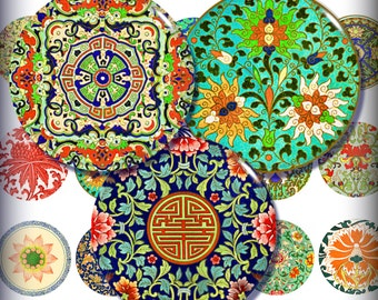 Chinese Designs 1 Inch and 1.5 Inch Circles Digital Collage Printable Instant Download Asian Oriental Pendant Images Buttons Magnets