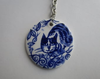 Cat - Handpainted Dutch Delft blue and white Porcelain  keyring/keychain - one of a kind- handmade