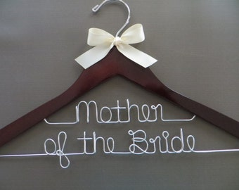 Mother of the Bride Hanger, 2 Line Wedding Hanger, Bridal Party Hanger, Personalized Hanger, Mom Gift, Wedding Party Gift, Photo Prop