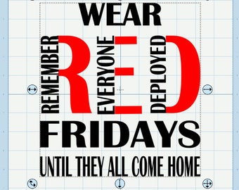 Wear Red Fridays- till they all come home SVG