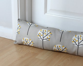 Draught Excluder Grey Fabric Tree Pattern Scandinavian Fabric Home Decor Neutral Home Custom Size