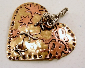 Broken Mended Mixed Metal Puffed Heart Pendant (Red Brass, Copper and Sterling Silver) Drama Masks and Stars