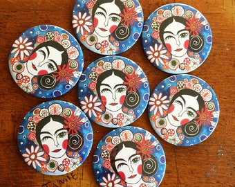 Pocket Mirror- Beauty Accessory - Compact Mirror - Fun Gift - Gift Under A Fiver - Frida Kahlo - Gift For Her- Spanish Style Purse Mirror