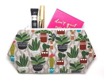 Cactus Zipper Pouch, Cactus Toiletry Bag, Cactus Print, Cactus Makeup Bag, Waterless Plants, Cactus Bag Gift, Cactus Pencil Pouch